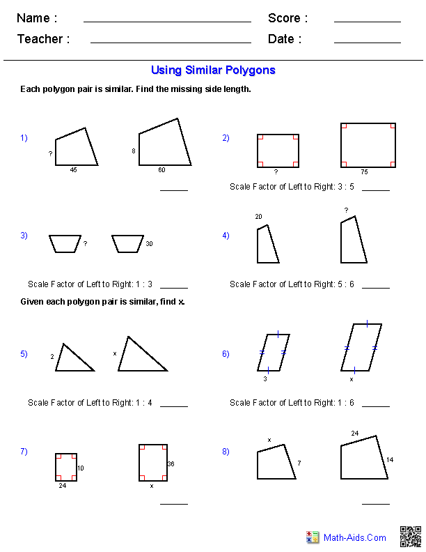 Using Similar Polygons Worksheets