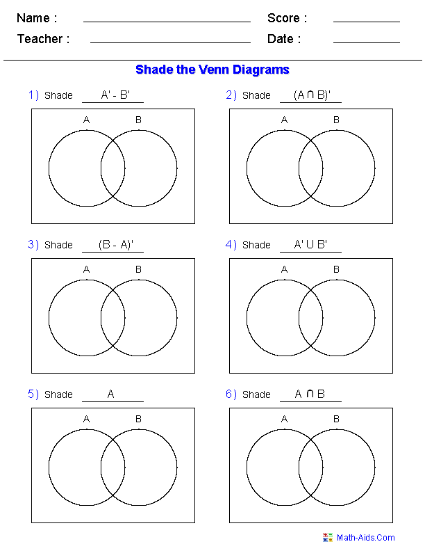 Venn Diagram Worksheets - Shade the Regions Using Two Sets