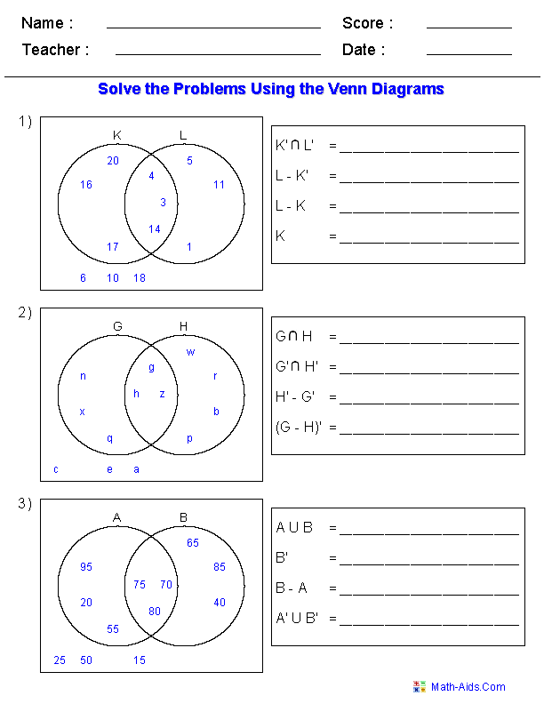 Printables Venn Diagrams Worksheets venn diagram worksheets dynamically created set notation problems using two sets