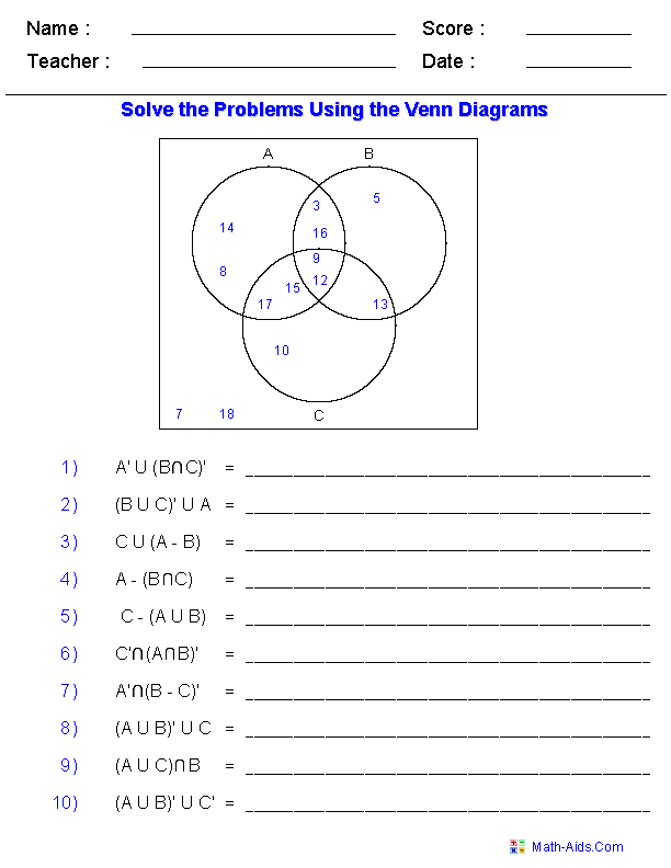 Printables Venn Diagrams Worksheets venn diagram worksheets dynamically created set notation problems using three sets