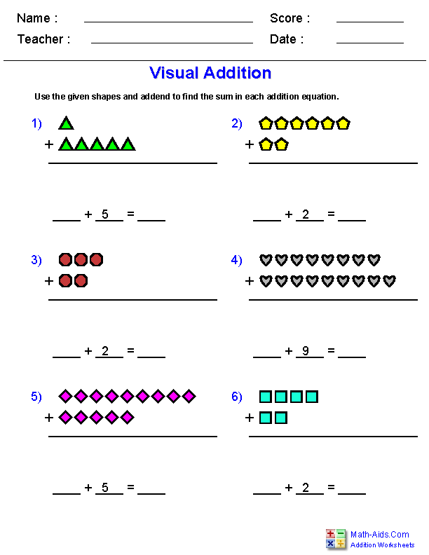 Visual Addition Worksheets