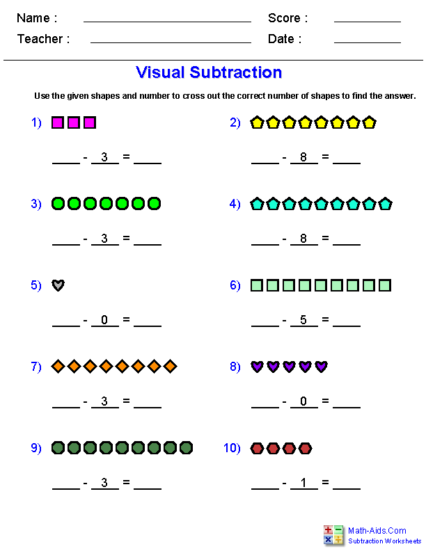 Visual Subtraction Worksheets