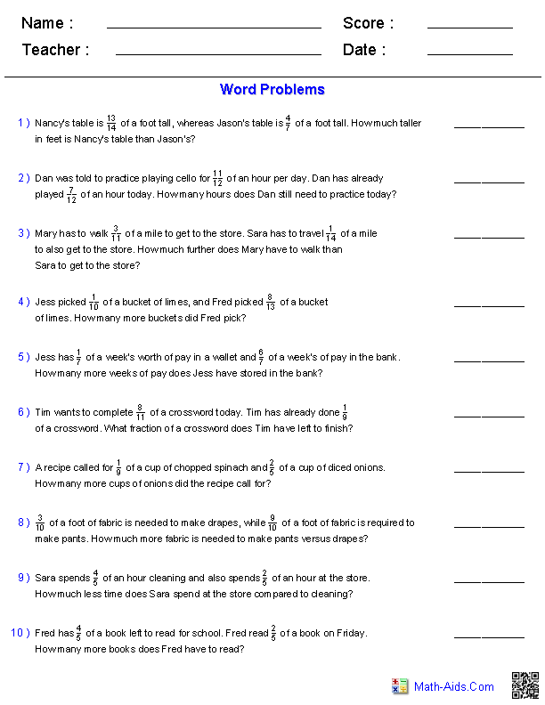 Word Problems Worksheets : Dynamically Created Word Problems