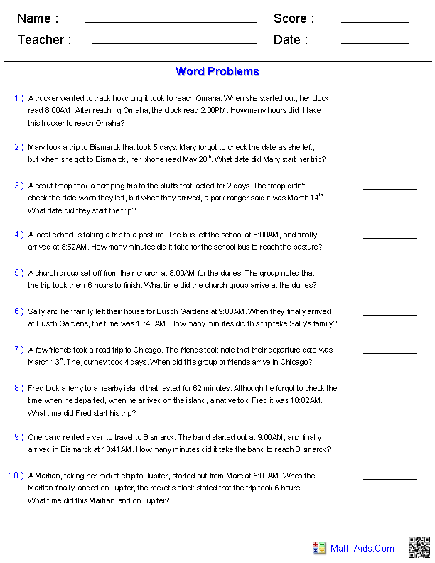 Word Problems Worksheets – Grade 4 Math Worksheets Word Problems