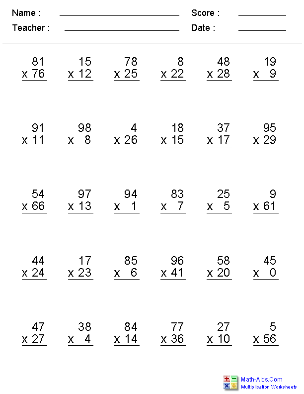 Multiplication Worksheets – Math Facts Multiplication Worksheet