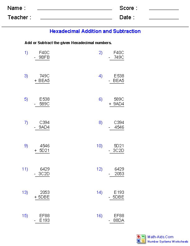 Number Systems Worksheets – Subtracting Real Numbers Worksheet