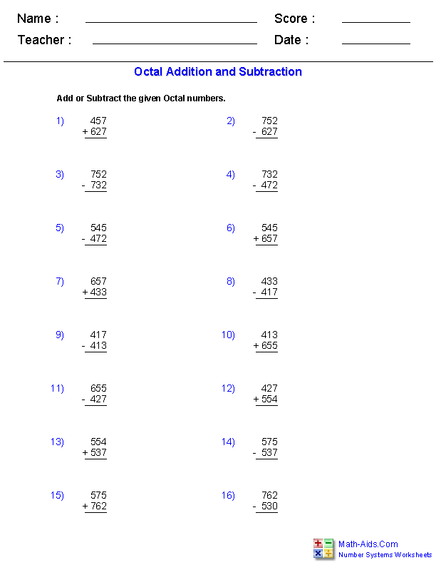 Adding and Subtracting Octal Worksheets