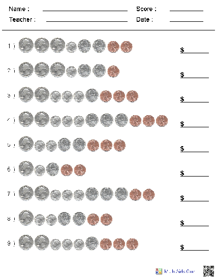 Counting Coins Addition Worksheets