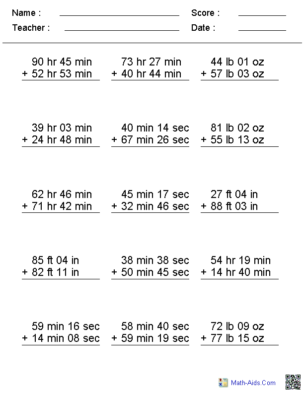 Adding Irregular Units Addition Worksheets