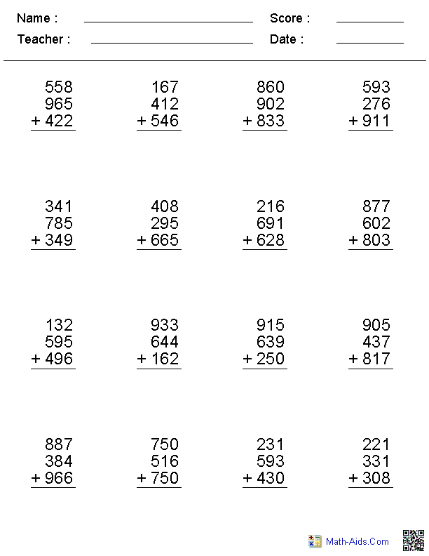 2, 3, or 4 Digits Addition Worksheets