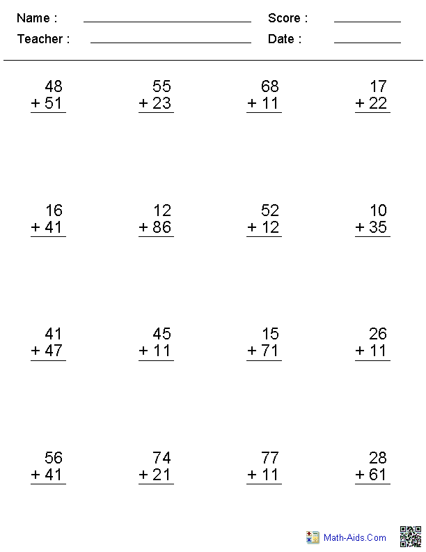 Printables Math Addition Worksheets addition worksheets dynamically created no regroup