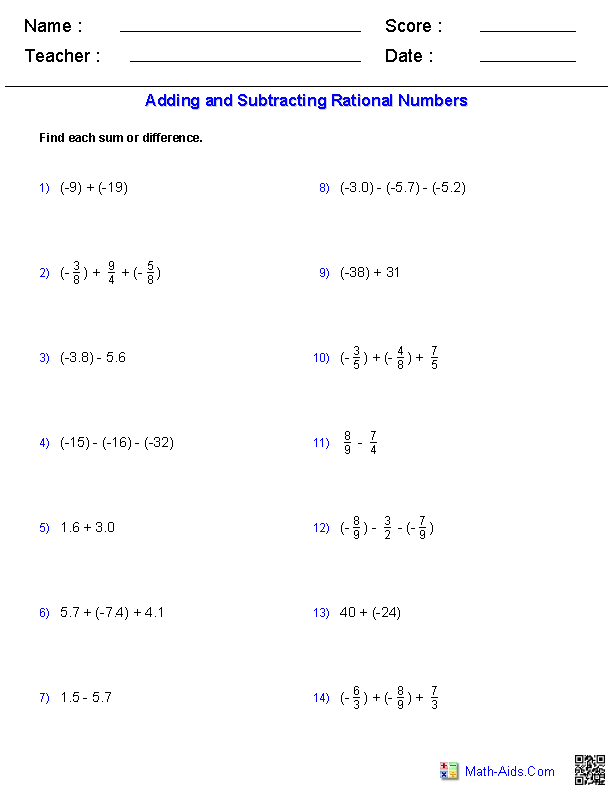 {Algebra 1 Worksheets – Rational Numbers Worksheet