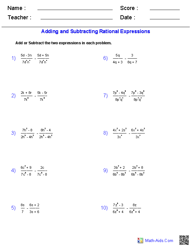 Algebra 1 Worksheets | Rational Expressions Worksheets