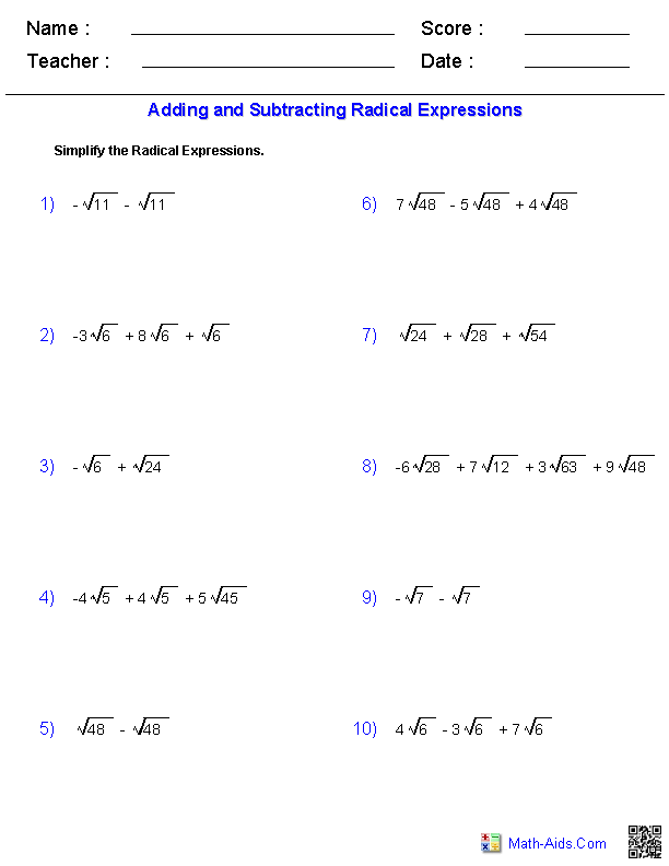 Algebra 1 Worksheets Radical Expressions Worksheets
