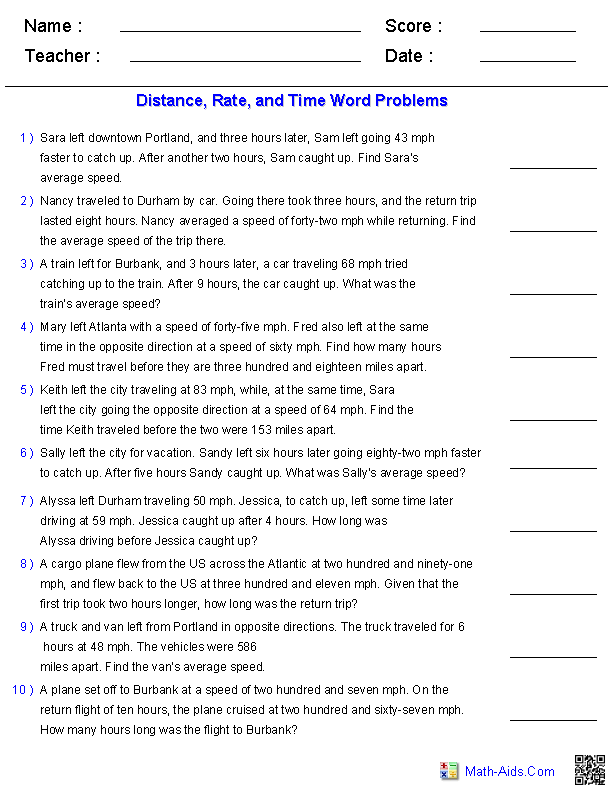 Algebra 1 Worksheets – Rate Word Problems Worksheet