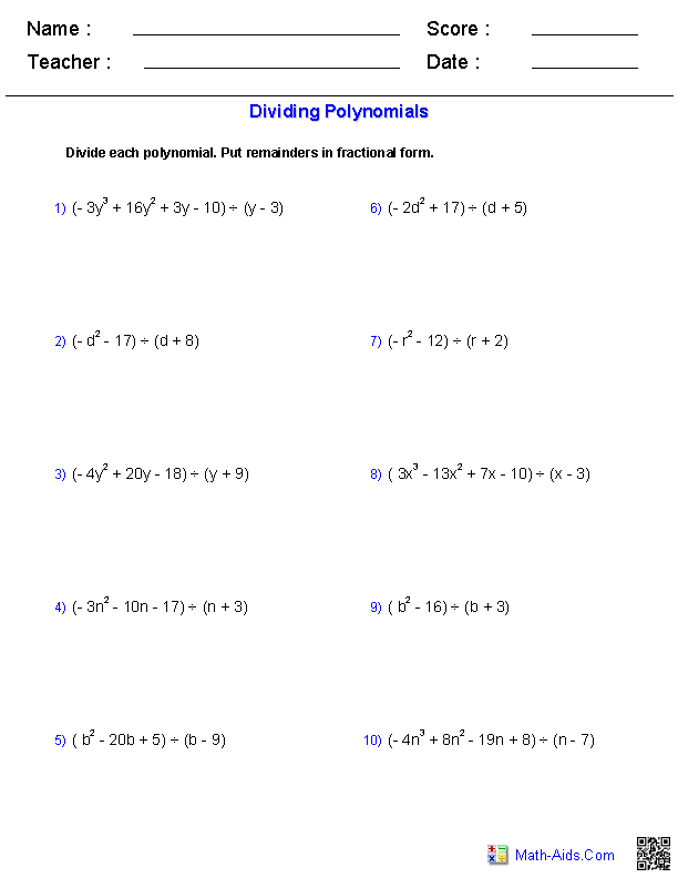Algebra 1 Worksheets | Monomials and Polynomials WorksheetsPolynomials Worksheets