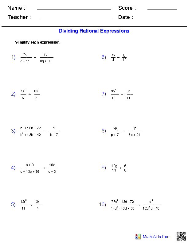 Dividing Rational Expressions Worksheets