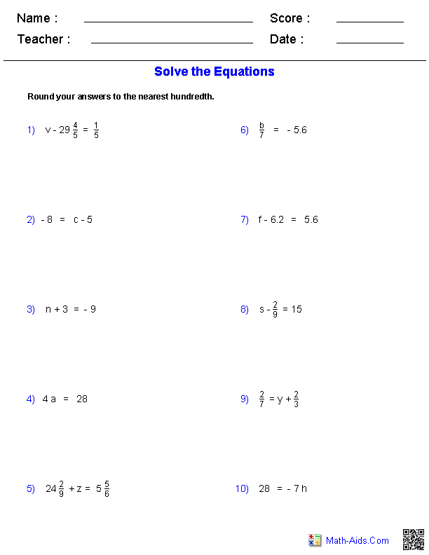 Printables Equation Problems Worksheet algebra 1 worksheets equations one step with integers decimals fractions problems worksheets