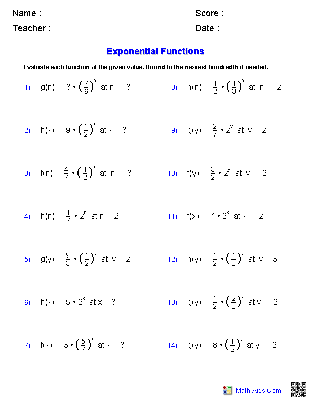 Evaluating Exponents Functions Worksheets
