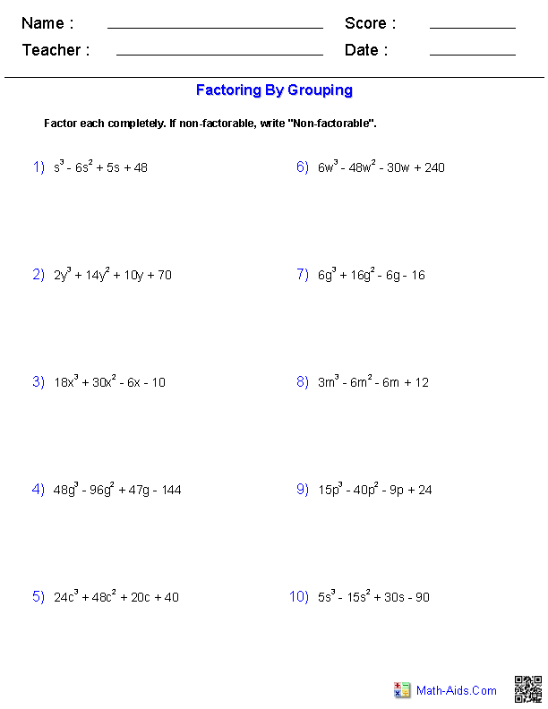 Factoring by Grouping Polynomials Worksheets