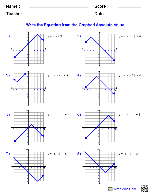 Algebra 1 Worksheets – Transformations of Graphs Worksheet