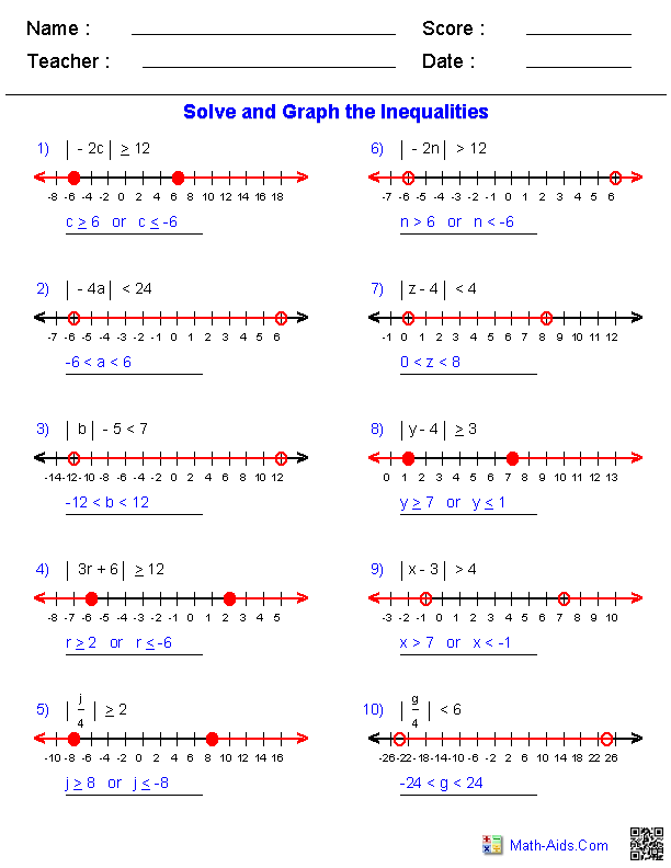 Equation and Inequalities Worksheets