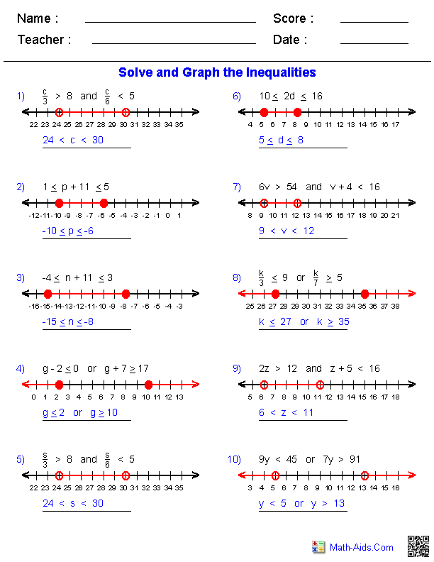 Algebra 1 Worksheets – Inequalities on a Number Line Worksheet