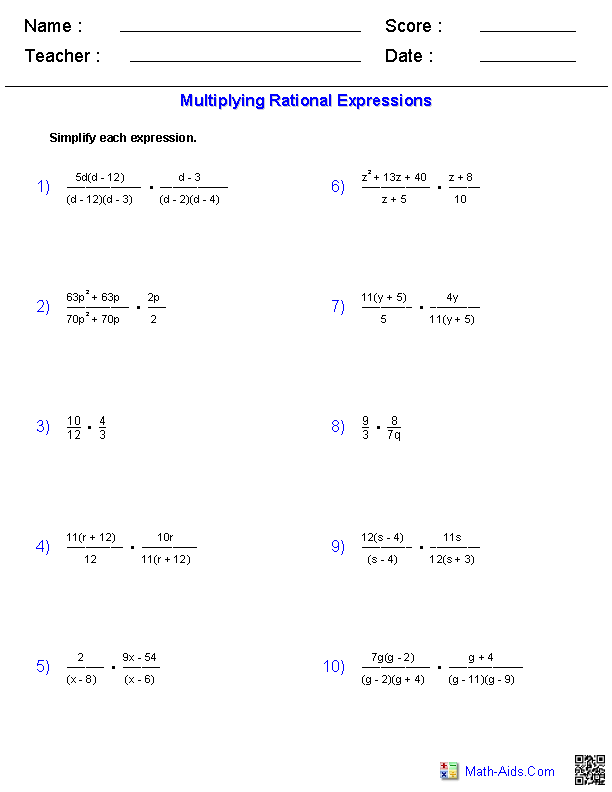 Multiplying Rational Expressions Worksheets
