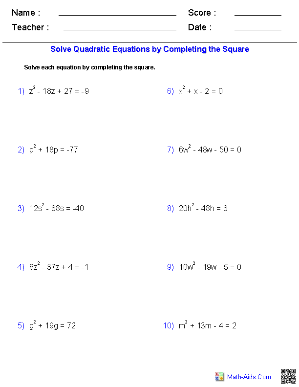 Worksheets Quadratic Formula Worksheets algebra 1 worksheets quadratic functions solving equations by completing the square