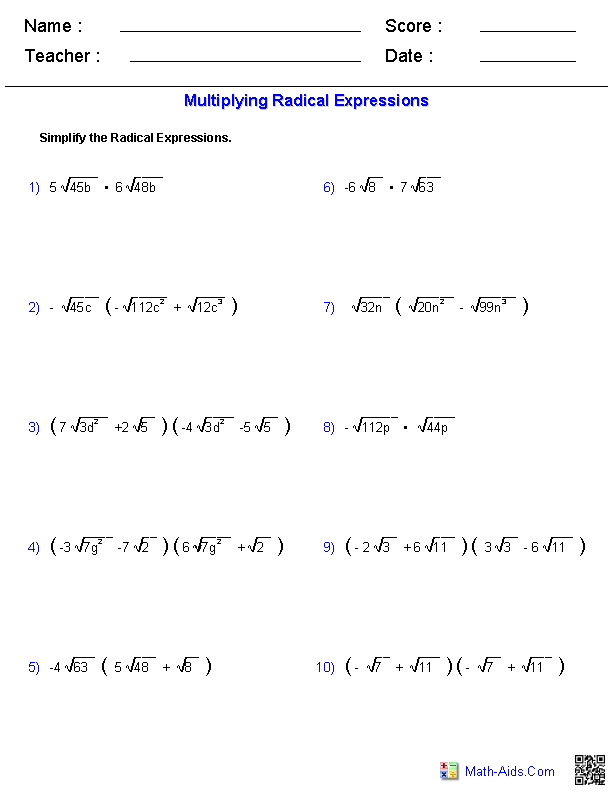 Multiplying Radical Expressions Worksheets
