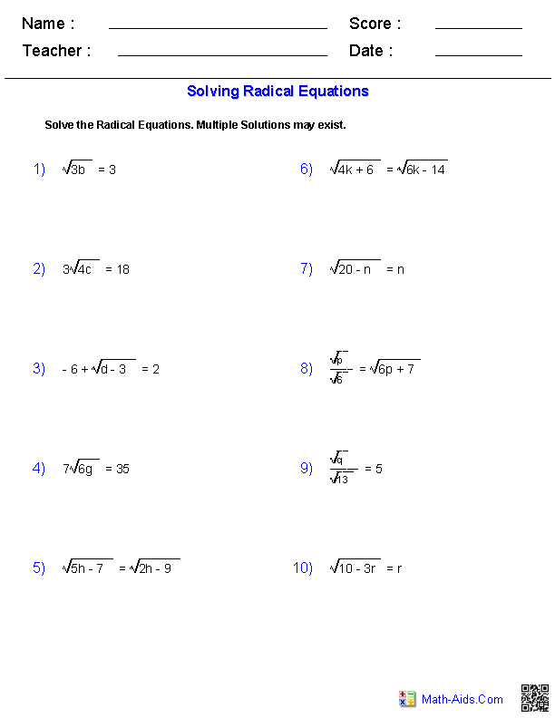 Algebra 1 Worksheets | Radical Expressions Worksheets