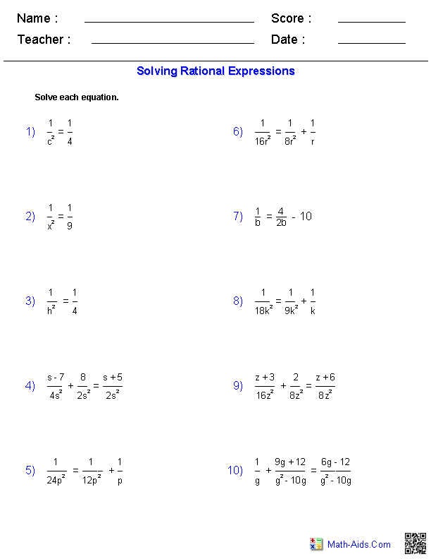 Solving Equations Worksheets: Algebra 1 Worksheets   Rational Expressions Worksheets,
