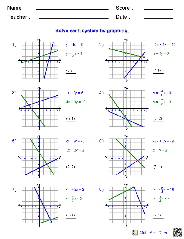 Algebra 1 Worksheets | Systems of Equations and Inequalities Worksheets