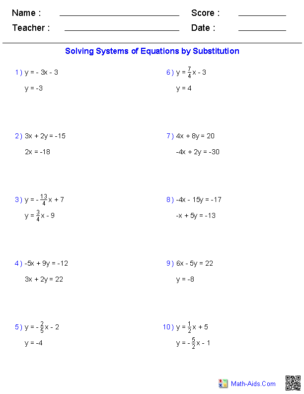Algebra 1 Worksheets | Systems of Equations and Inequalities