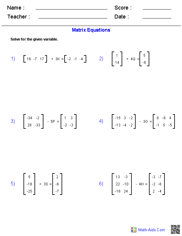 Printables Matrices Worksheets algebra 2 worksheets matrices worksheets