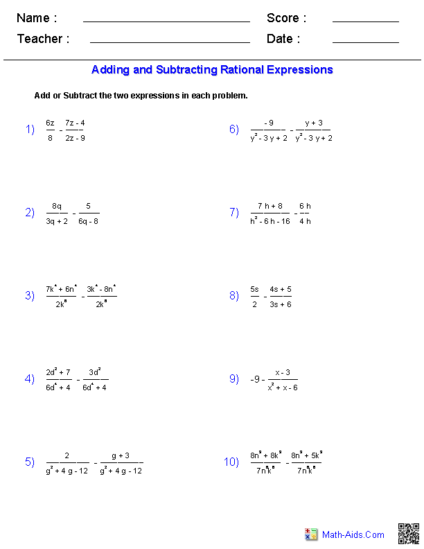 Algebra 2 Worksheets – Adding and Subtracting Unlike Denominators Worksheet