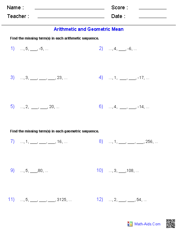 Arithmetic and Geometric Means with Sequences Worksheets