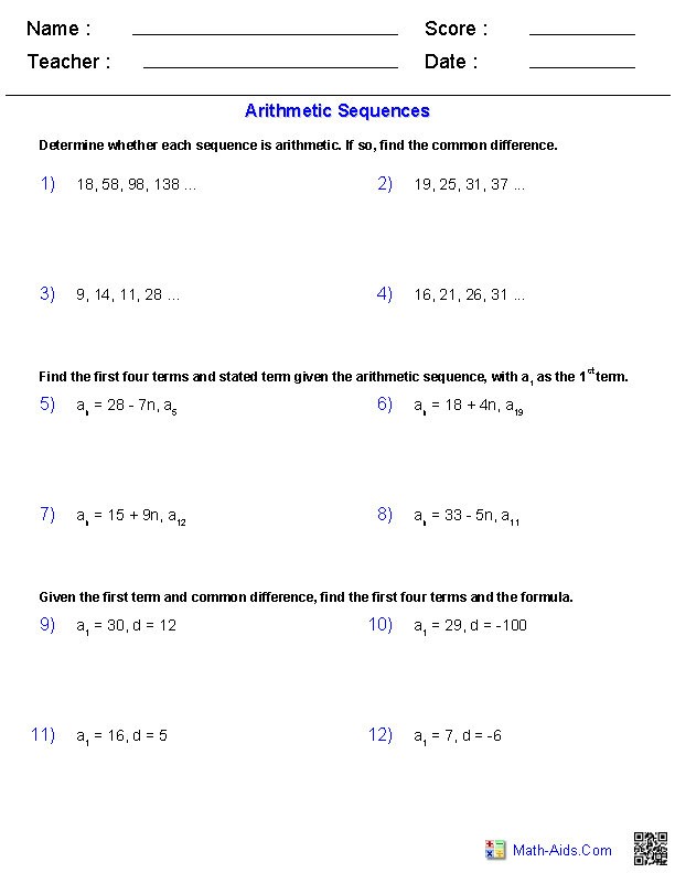 Algebra 2 Worksheets | Sequences and Series WorksheetsArithmetic Sequences Worksheets