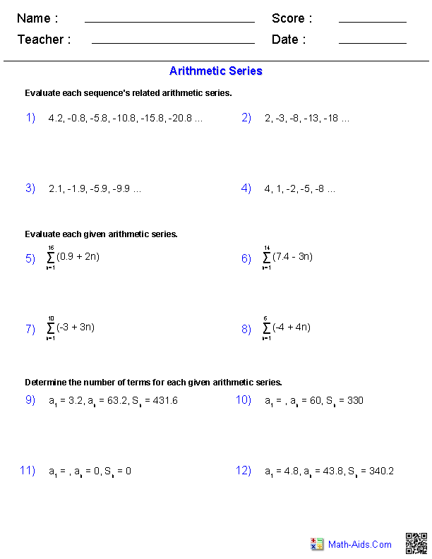 Printables Arithmetic Sequences And Series Worksheet algebra 2 worksheets sequences and series arithmetic worksheets