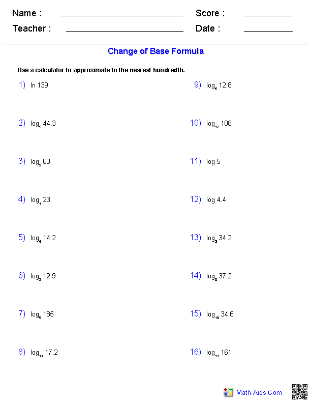 The Change of Base Formula Worksheets
