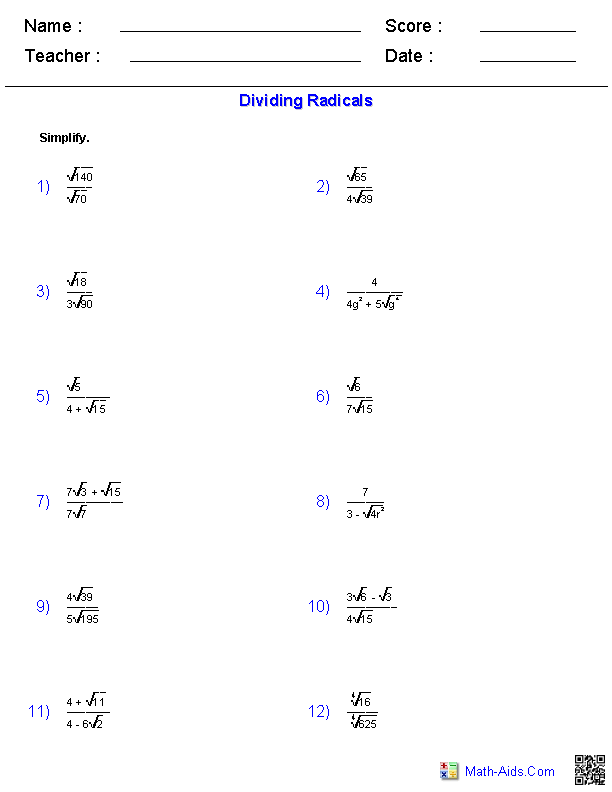 algebra  worksheets  radical functions worksheets dividing radical expressions worksheets