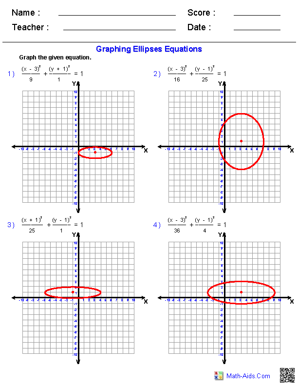 Algebra 2 Worksheets | Conic Sections Worksheets