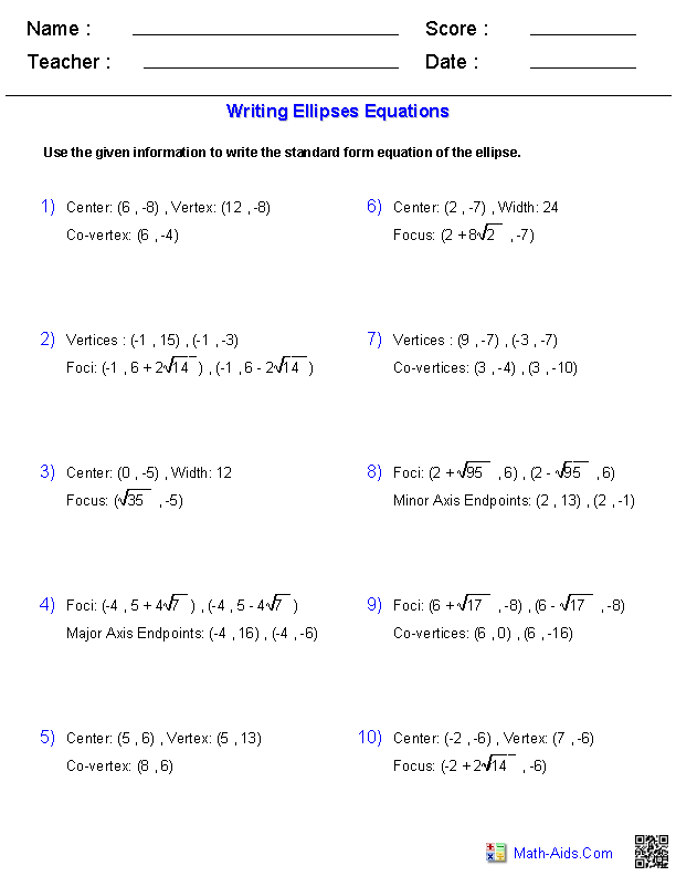 Printables Ellipse Worksheet algebra 2 worksheets conic sections writing equations of ellipses worksheets