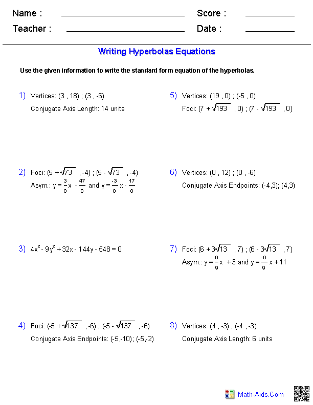 Algebra 2 Worksheets – Hyperbola Worksheet