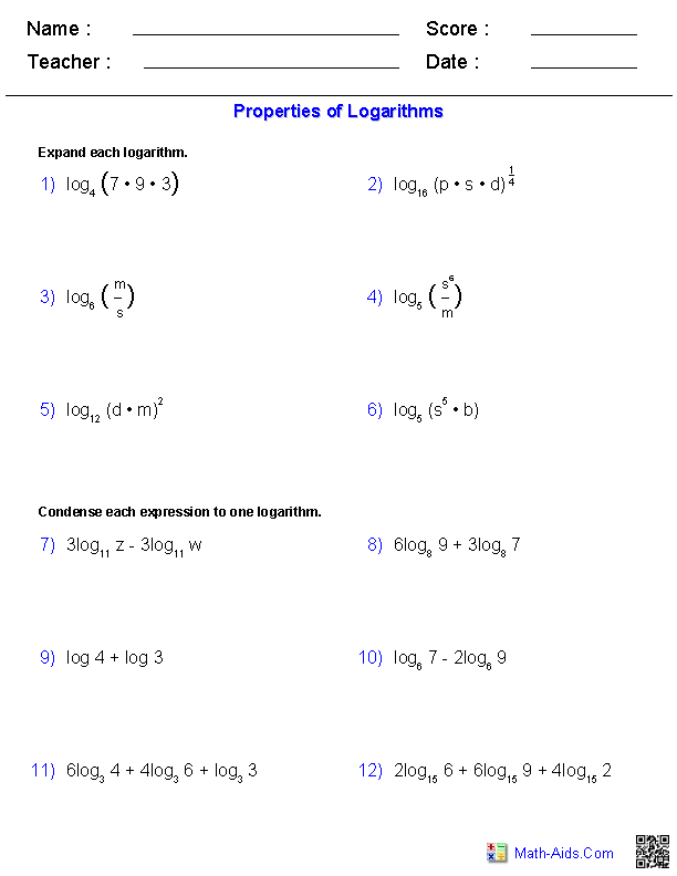 Properties of Logarithms Worksheets