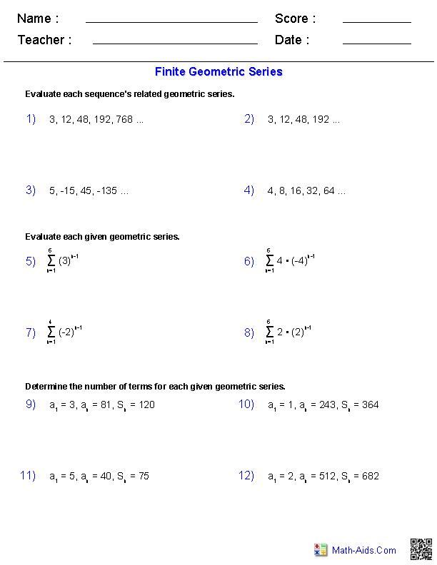 Worksheets. Geometric Series Worksheet. Opossumsoft Worksheets and ...