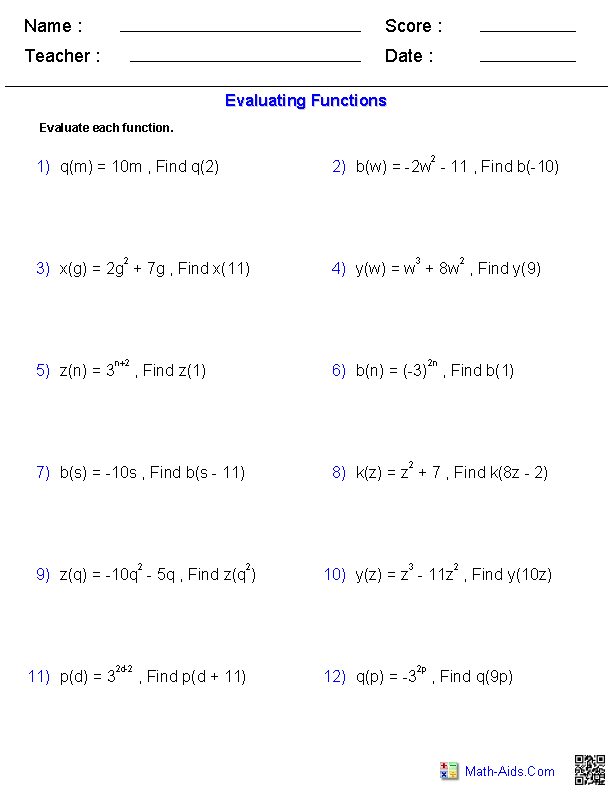 Printables Evaluating Functions Worksheet algebra 2 worksheets general functions evaluating worksheets