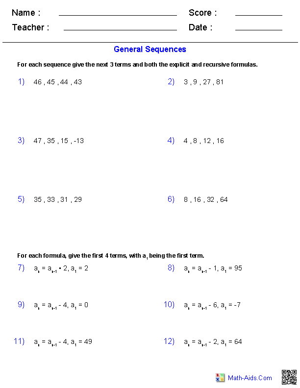General Sequences Worksheets