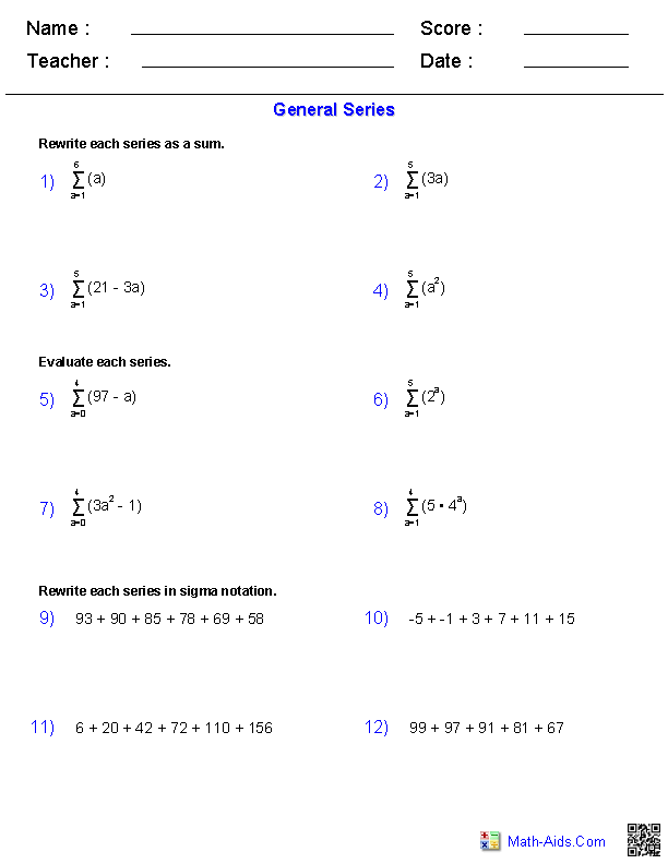 Printables Sequences And Series Worksheets algebra 2 worksheets sequences and series worksheets