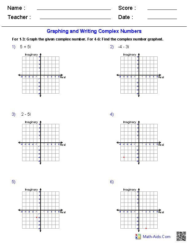 Algebra 2 Worksheets | Complex Numbers Worksheets